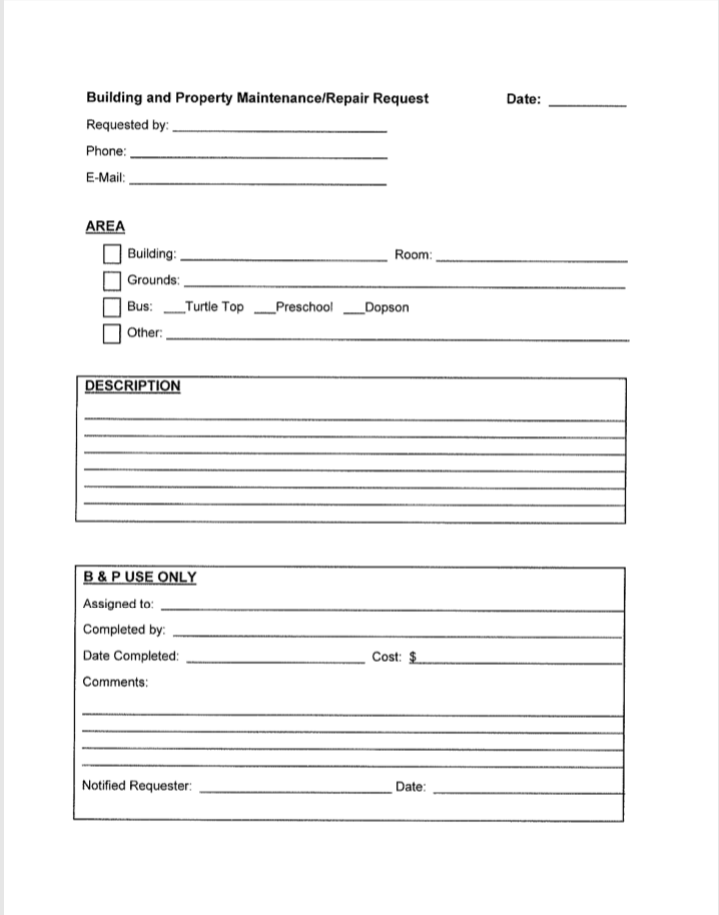 B and P Repair Request Form